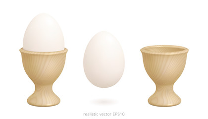 Wooden egg cups. 3d realistic vector design of holder yellow wood texture. Boiled chicken egg floats over white background. Sharp detailed clipart.