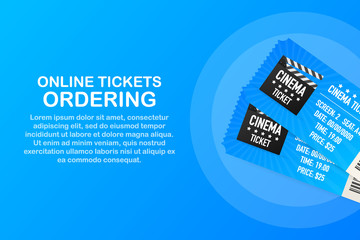 Online cinema, internet streaming. Web banners, web sites, printed materials. Vector illustration.