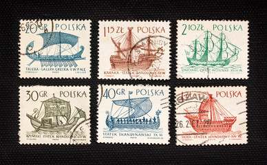 antique sailing ships on post stamps