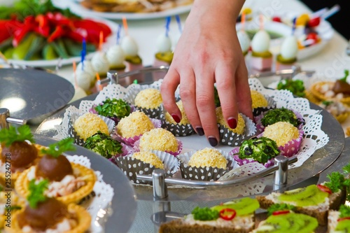 Terrific Tasty Snack Dishes On White Buffet Table At Party Banquet Download Free Architecture Designs Scobabritishbridgeorg