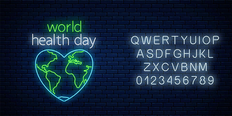 Glowing neon medicine concept sign with map outline in heart shape with alphabet and text. World Health Day banner