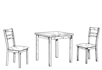 vector, isolated, sketch, lines table and two chairs