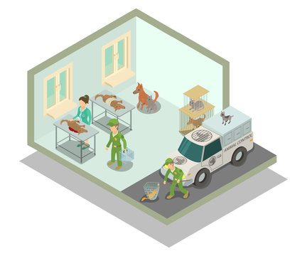 Veterinary clinic concept banner. Isometric banner of veterinary clinic vector concept for web, giftcard and postcard