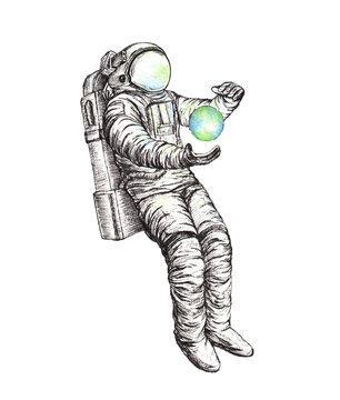 Hand drawn space astronaut sketch illustration.
