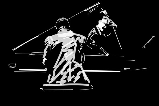 White silhouette of pianist and bass player on black background. Jazz concert. Black and white vector illustration.