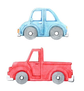 Watercolor set of cartoon car. Hand drawn illustration. Isolated on white background. Funny cartoon image. Travel conception.