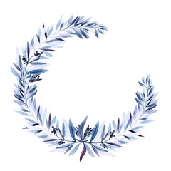 Watercolor wreath with blue branch. Botanical illustration perfect for design greetings, prints, flyers,cards,holiday invitations and more.