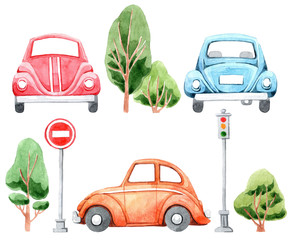 Watercolor set of cartoon car, trees and road signs. Hand drawn illustration. Isolated on white background. Funny cartoon image. Travel conception.