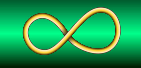 Infinite ring floating over a green background. Vector Illustration