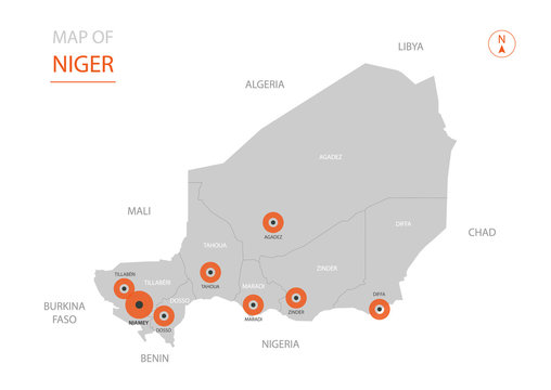 Stylized vector Niger map showing big cities, capital Niamey, administrative divisions.