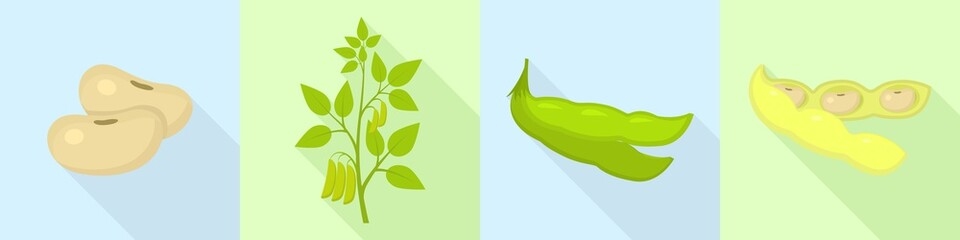 Soybean icons set. Flat set of soybean vector icons for web design