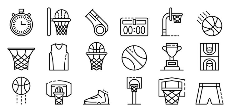 Basketball equipment icons set. Outline set of basketball equipment vector icons for web design isolated on white background