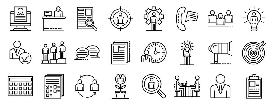 Recruitment icons set. Outline set of recruitment vector icons for web design isolated on white background