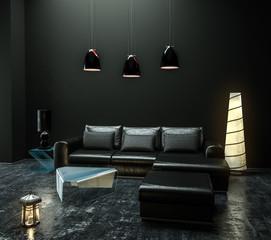Sofaecke im luxuriösen hohen dunklen Raum