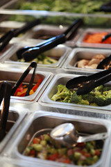 Close UP Salad bar with vegetables