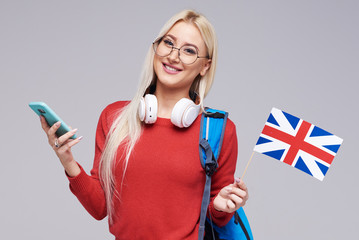Online Education, foreign language translator, english, student - smiling blond woman in headphones...