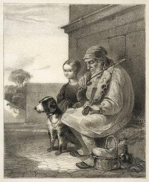 Blind Fiddler and Dog