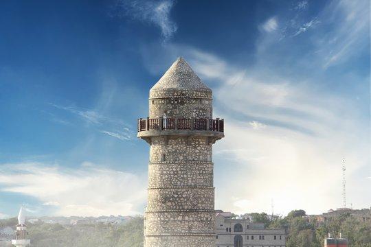 Minaret of renovated Abdiaziz Mosque in Mogadishu, Somalia