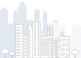 Line Design Urban landscape with large modern buildings  - vector illustration