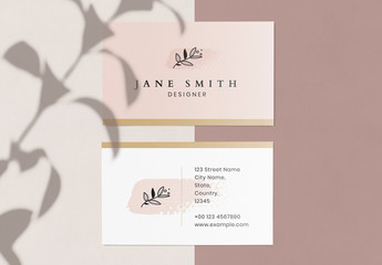 Business Card with Pink Brushtroke Element and Line Art Floral Illustration