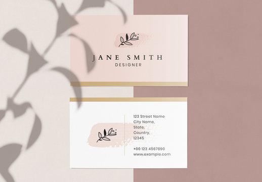 Business Card with Pink Brushtroke Element and Line Art Floral Illustration