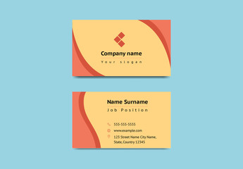 Orange Business Card with Wavy Elements