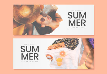 Web Banner Set with Vacation-Themed Images