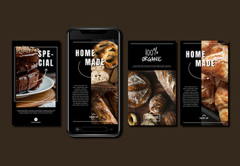 Social Media Post Set with Images of Baked Goods