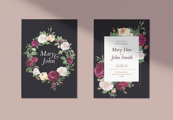 Vintage-Style Floral Wedding Invitation