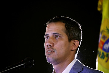 Venezuelan opposition leader Juan Guaido, who many nations have recognized as the country's rightful interim ruler, attends a rally against Venezuelan President Nicolas Maduro's government in Caracas