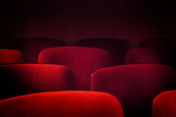 Red old empty theater seats. Shallow DOF. Fototapete