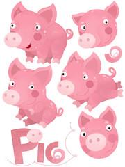 cartoon scene with pig set on white background - illustration for children