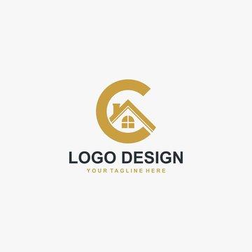 Real estate company and letter C logo design. Property management illustration logo - Vector.