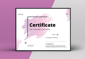 Award Certificate Layout with Abstract Elements