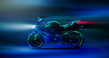 Futuristic high speed racing motorcycle scene (3D Illustration)