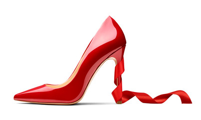 red high heel footwear ribbon fashion female style Wall mural
