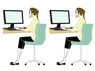 女性-デスクトップPC-全身-困る