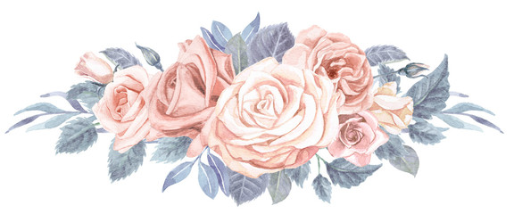 Watercolor Greenery and Roses Bouquet Blush Pink and Dusty Blue
