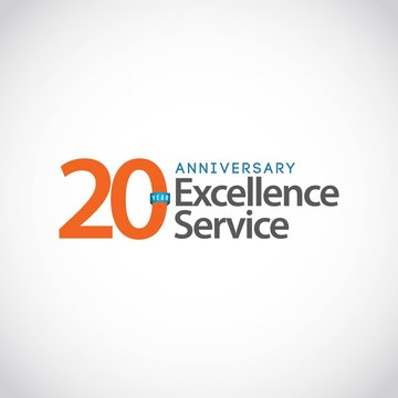 20 Year Anniversary Excellence Service Vector Template Design Illustration