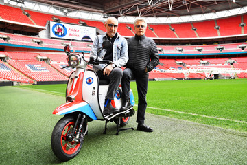Roger Daltrey and Pete Townshend of British band The Who pose for a picture at Wembley Stadium in London