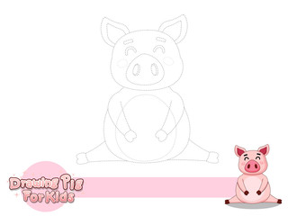Drawing and Paint Cute Cartoon Pig. Educational Game for Kids. Vector Illustration With Cartoon Style Funny Animal