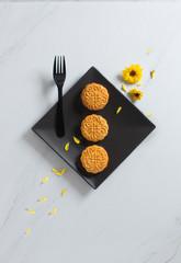 Flat lay modern highly stylised mid autumn festival food image.