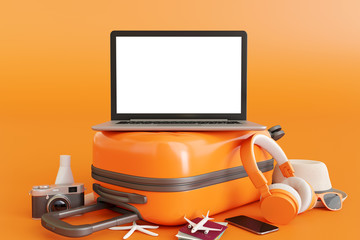 Wall Mural - Laptop on suitcase with traveler accessories on orange background. travel concept. 3d rendering