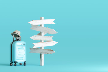 Blue suitcase and hat, camera with signpost on pastel blue background. travel concept. 3d rendering Fototapete