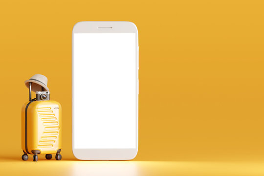 Suitcase and hat, camera with smartphone on yellow background. travel concept. 3d rendering