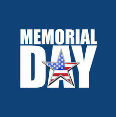 memorial day Us holiday sign over a colorful blue