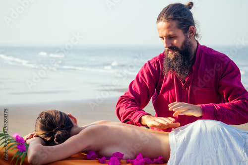 Ayurvedic relaxing massage ,health woman in spa salon