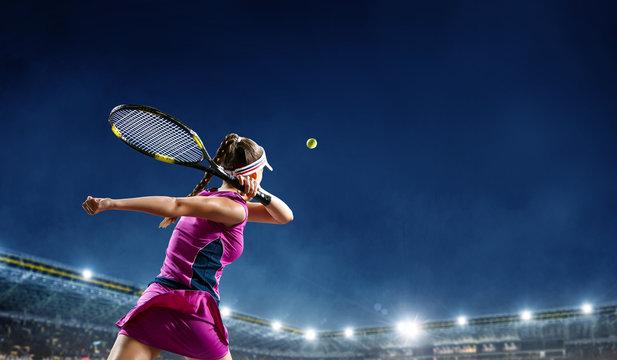 Big tennis player. Mixed media