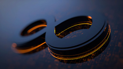 3D rendering abstract image of the symbol of infinity. Background consisting of glow numbers and lines. The concept of circulation of information