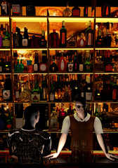 bar keeper at his job, offering drinks, talking with a customer, 3D illustration